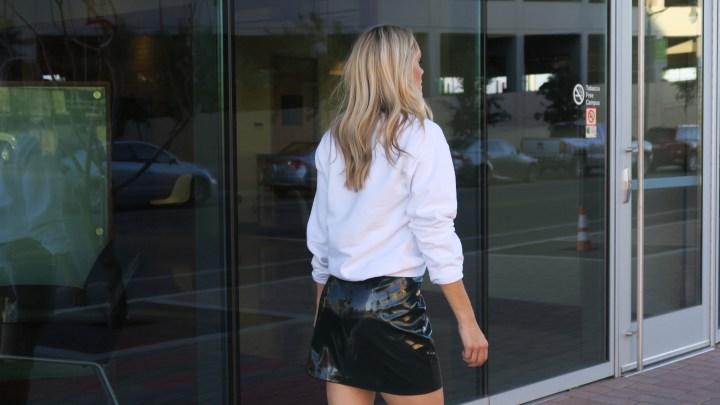 mini skirt and sweatshirt