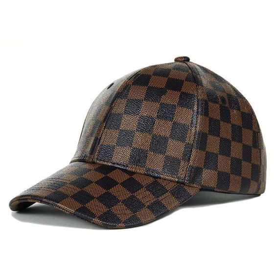 brown and black checkered faux leather baseball cap womens