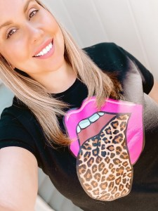 leopard print rolling stones tongue shirt