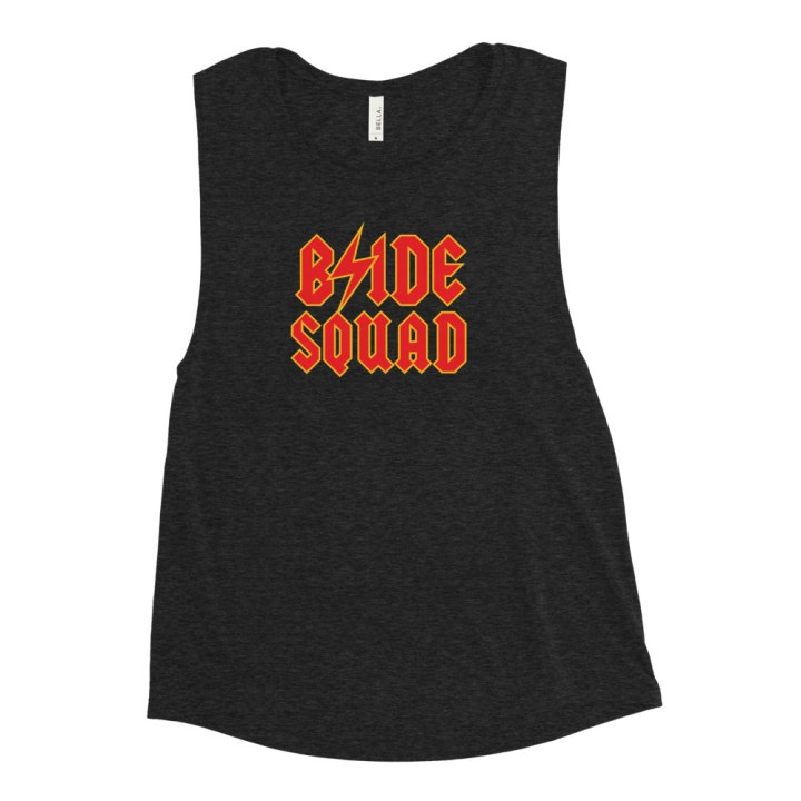 bride squad tank heather black
