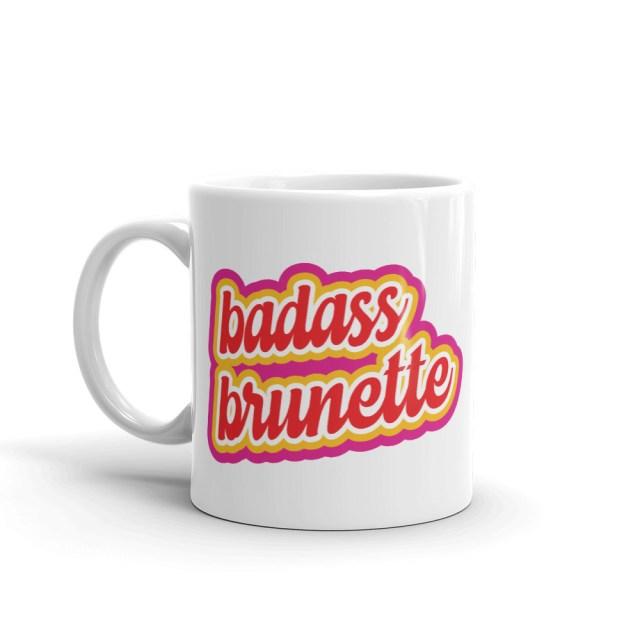 badass brunette coffee mug