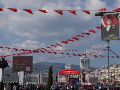 flags for a special event in Alsancak, Izmir