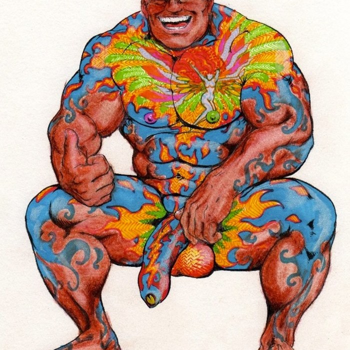 Tattooed bodybuilder exposing his penis and smiling, illustration by Bruno B