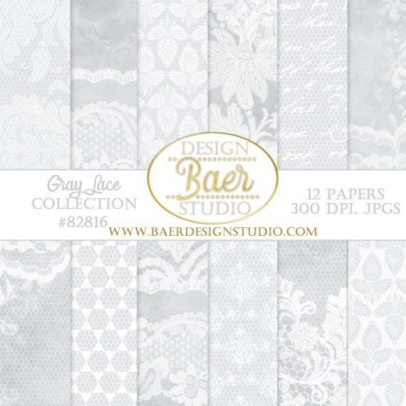 Gray Damask and Lace Paper