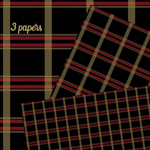 Red Black Gold Plaid Digital Paper