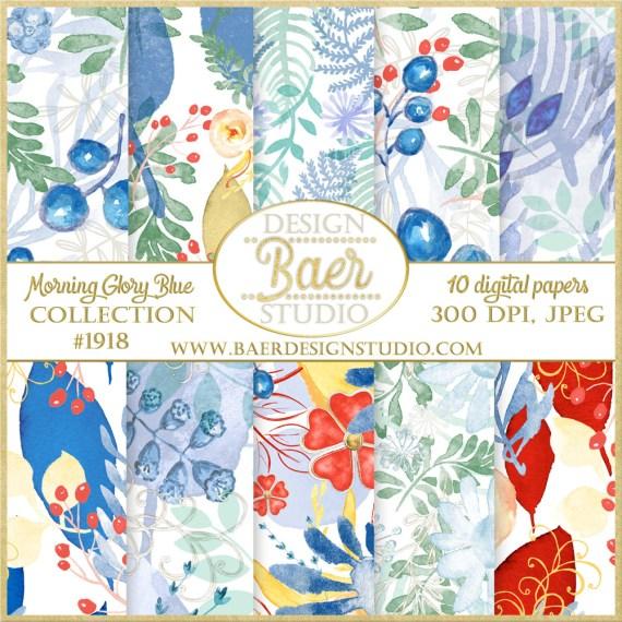 Blue Floral Watercolor Digital Paper Pack