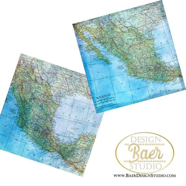 Mexico Map Digital Paper  Mexico Digital Scrapbook Kit  Blue Map     Mexico Map Digital Paper