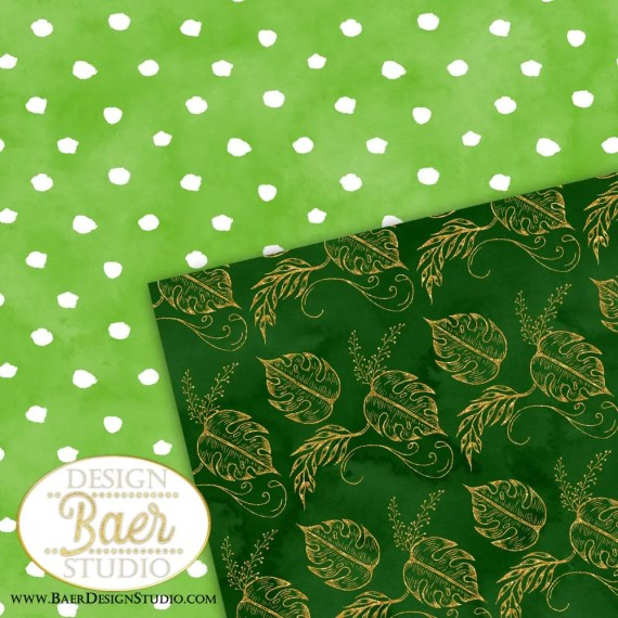Green and Gold Palm Leaf Digital Paper