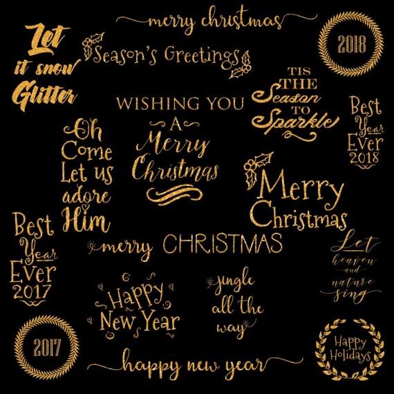 Gold Gliter Christmas Word Art