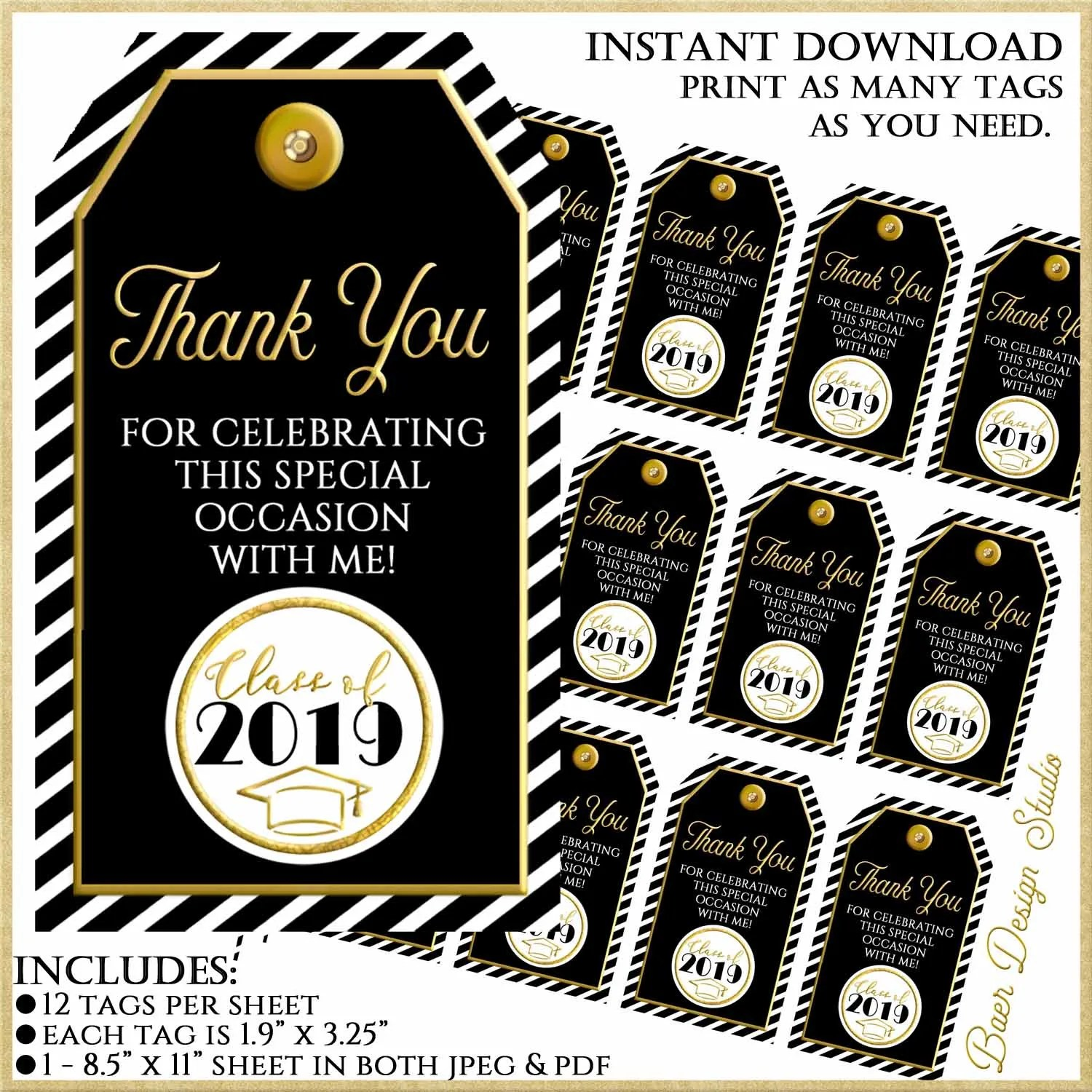 photograph regarding Thank You Printable Tag named Printable tags for Favors, Black and Gold Thank yourself Tags, Instantaneous Obtain