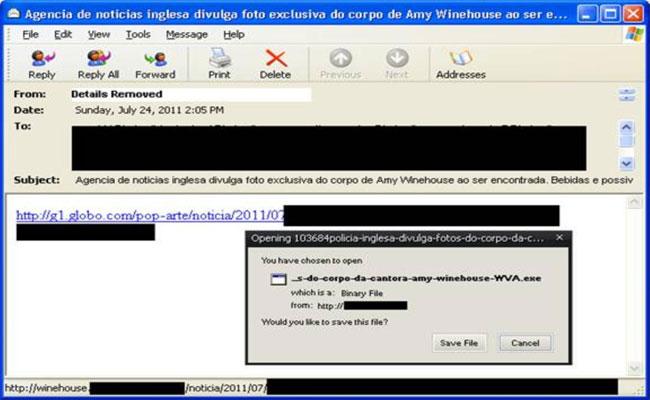 Hackers usam morte de Amy Winehouse para espalhar vírus (divulgação)