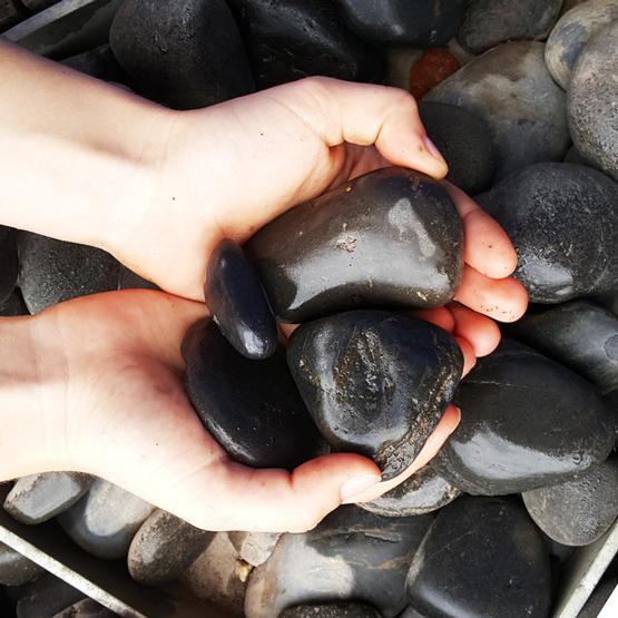 Black decorative pebble