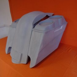 Harley Davidson 5″ Extended Stretched Saddlebags With Cut Outs Fender + Dual 6.5″ Speaker Lids