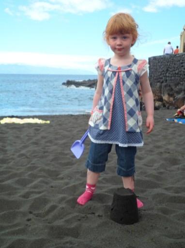 My first black sand sandcastle!