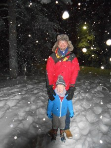 Father and son in the snow