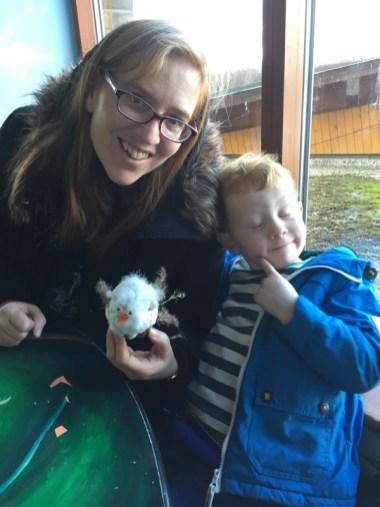 Ezra, Mommy and Snowy Owl