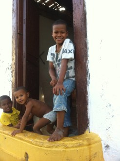 Children from the family home next to our hotel