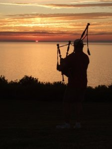 Piping down of the sun.