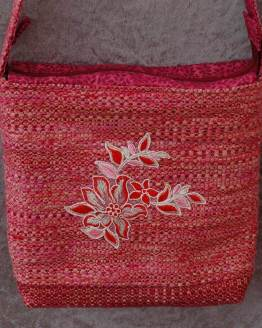 Red Flower Handmade Shoulder Bag