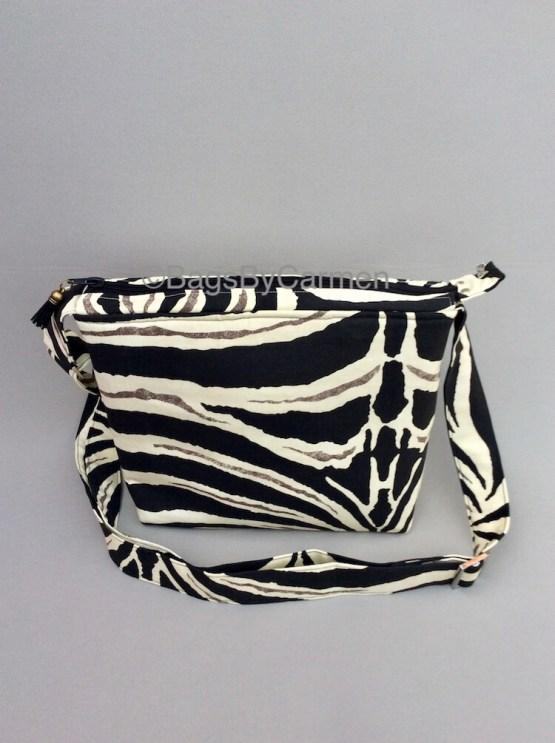 Black and White Zebra Print Handmade Shoulder Bag_Front
