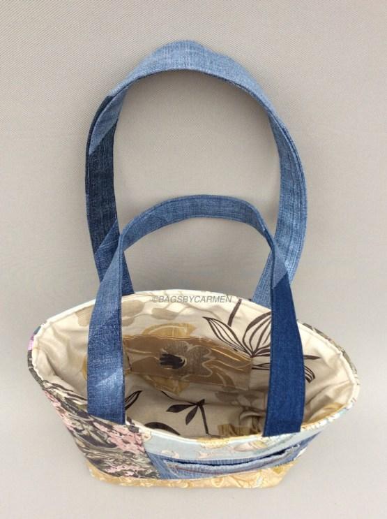 Blue Patchwork Handmade Tote Bag_Top