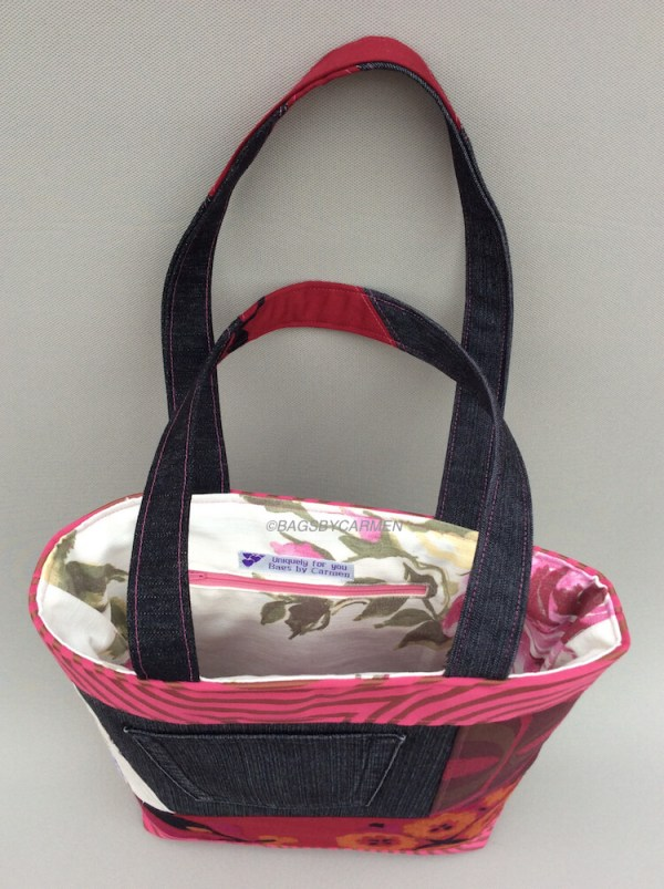 Pink Patchwork Handmade Tote Bag_Back