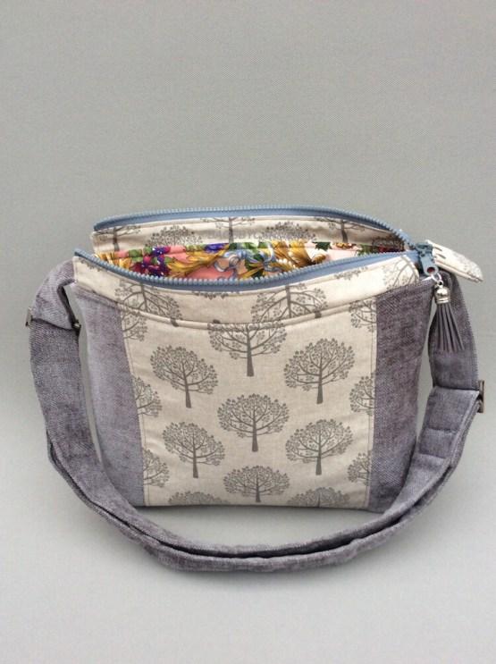 Silver Grey Tree Handmade Shoulder Bag_Front
