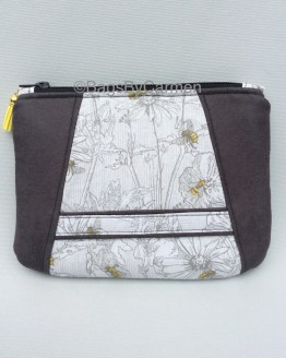 Bees On A Flower Handmade Clutch Bag_Front