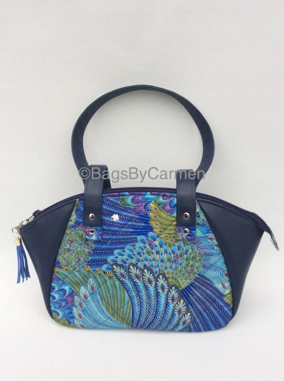 Blue and Gold Handmade Handbag_Front