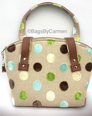 Handbag – Blue and Green Spotted
