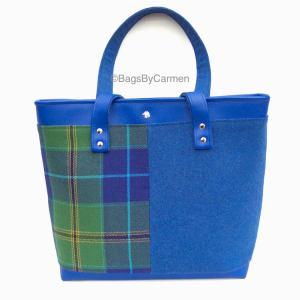 blue tartan tote bag