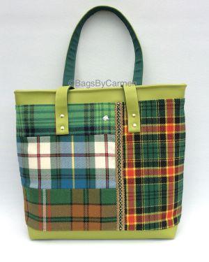 green tartan tote bag