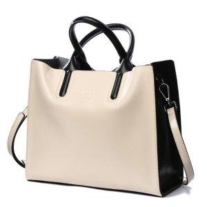 Купить Сумка-тоут женская бело-черного цвета кожаная Bvlriga, Casual Tote designer фото цена