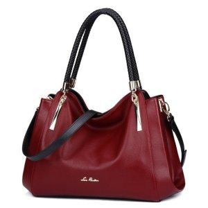 Купить Сумка женская красная кожаная через плечо бордовая Laorentou, Designer цена фото