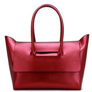 Купить Сумка-шоппер женская красная бордовая кожаная тоут Esufeir, Casual Tote цена фото