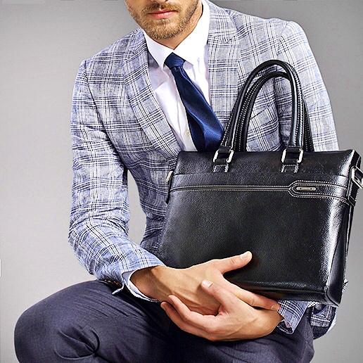 3a46dd411c73 Купить Портфель мужской кожаный черный черного цвета для документов макбука  планшета ноутбука Laorentou, Elegant Business