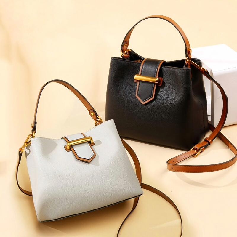 Женская сумка черного серого цвета с коричневой отделкой Купить Киев Запорожье Днепро Украина