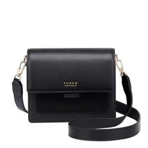 Купить Женская сумка через плечо черная кожаная с широким ремнем | клатч Foxer, Mini Flap Киев Украина Днепр Харьков Одесса