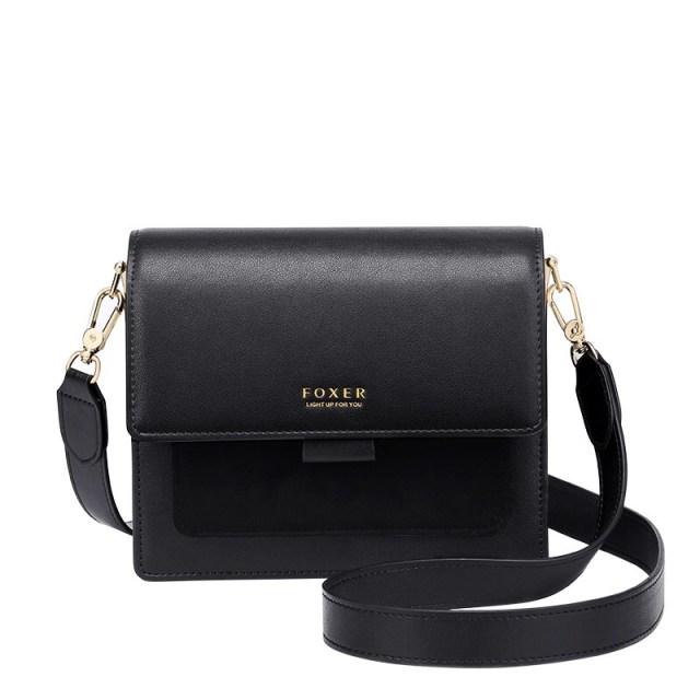 Купить Женская сумка через плечо черная кожаная | клатч Foxer, Mini Flap Киев Украина Днепр Харьков Одесса