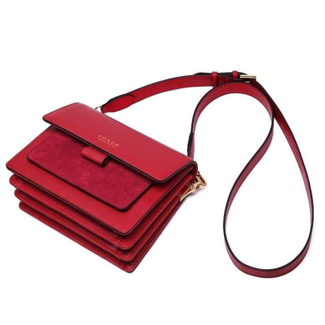 Женская сумка через плечо красная кожаная | клатч Foxer, Mini Flap Купить Киев Харьков Одесса Львов Запорожье Украина