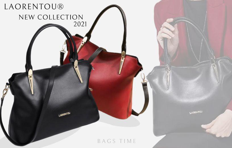 Нова колекція 2021. Елегантна, містка жіноча шкіряна сумка від бренду LAORENTOU®.