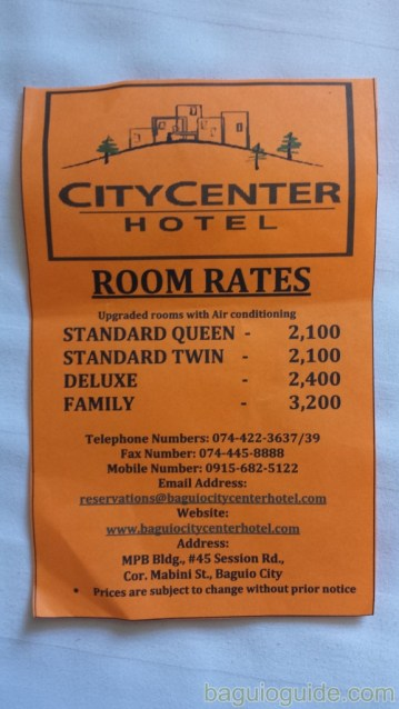 city center hotel baguio room rates
