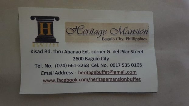 heritage mansion buffet baguio calling card