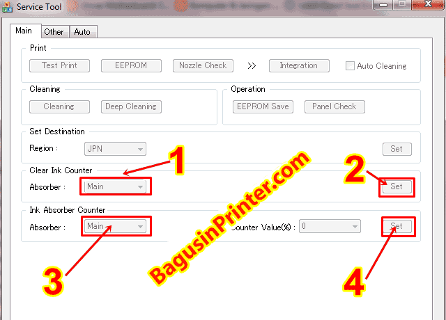 Menggunakan service tool