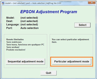 Epson L310 particular adsjustment mode