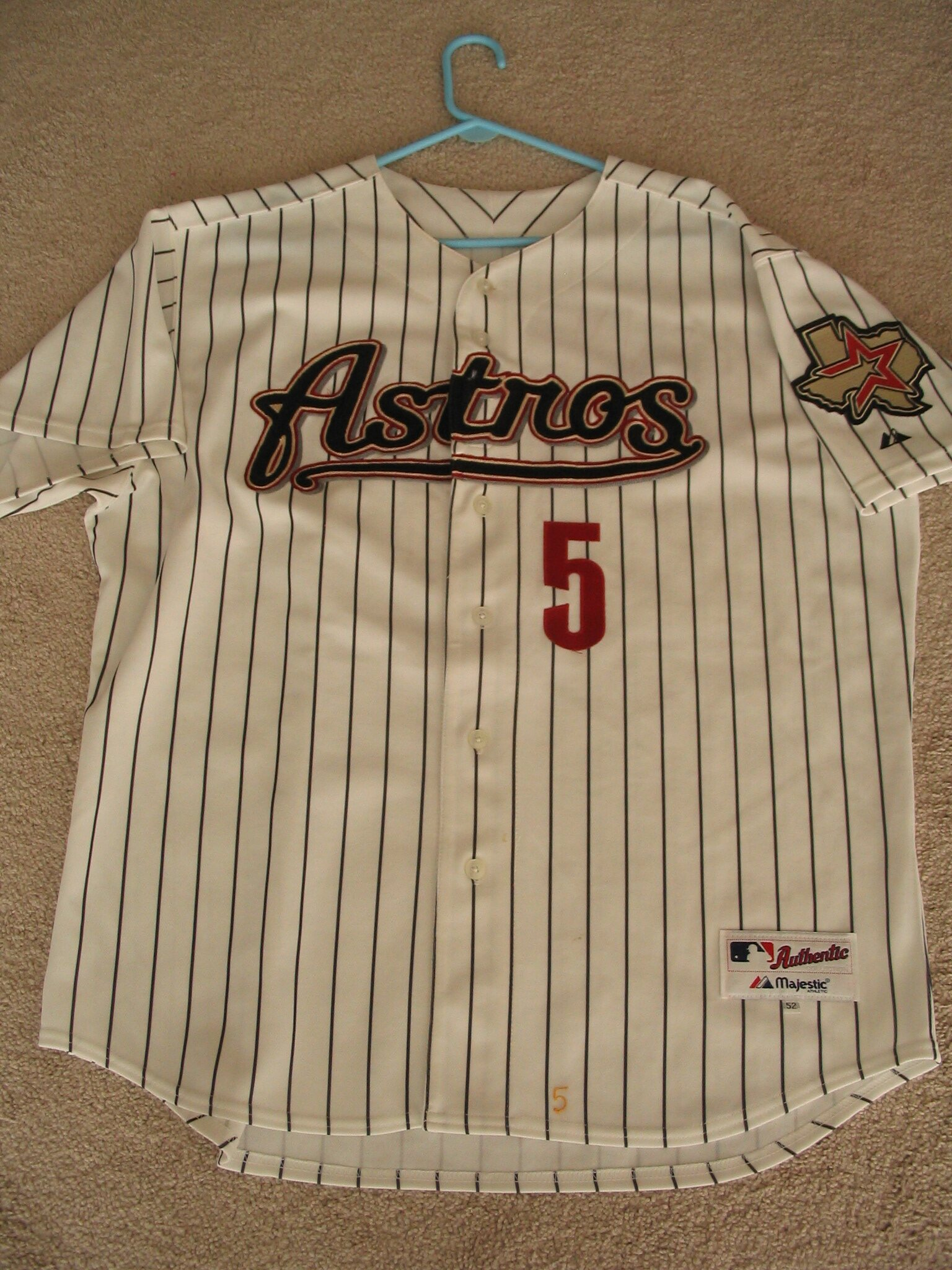 Jeff Bagwell 2002 Home Pinstripe Front View