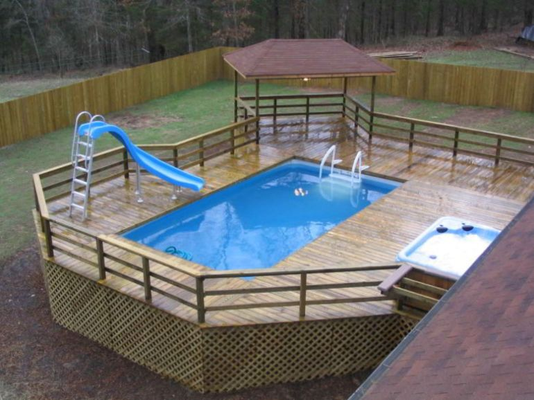 Deck Pool with Slide