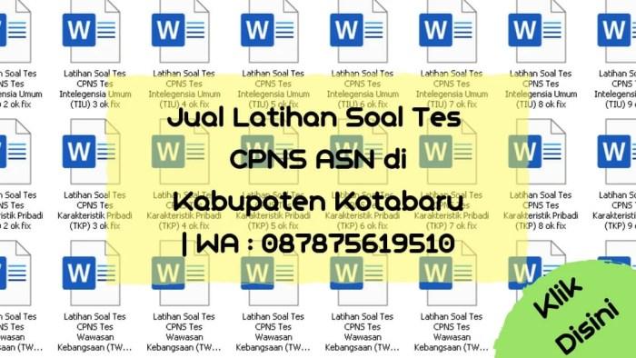 Soal Tes CPNS ASN di Kabupaten Kotabaru