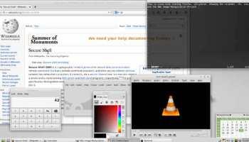Una captura de pantalla de Linux Mint que ejecuta el entorno de escritorio Xfce; Firefox; un programa de calculadora, el calendario incorporado, Vim, GIMP, y VLC media player, todos programas de software de código abierto. Fuente: Wikimedia.