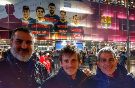 Con Joaquín Garau y Darío D'Amore. Estadio Camp Nou, Barcelona, Catalunya, marzo.